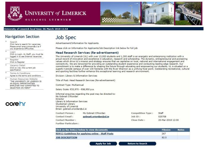 Univesity of Limerick job advert