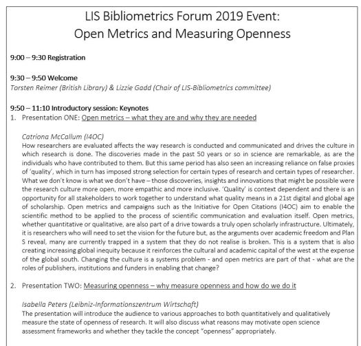 bibliometrics event agenda