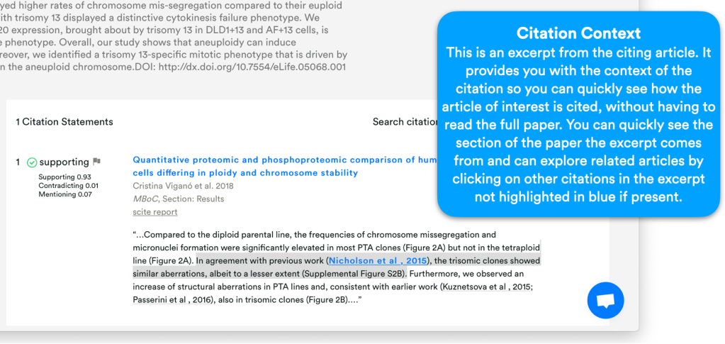 Screenshot of an example of an article on scite.ai which explains the citation classifications and citation context